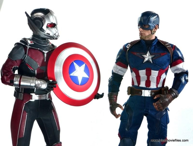 hot toys captain america civil war ant-man figure review -handing cap his shield