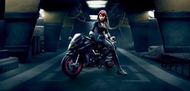 Marvel Legends 6-Inch Black Widow & Motorcycle