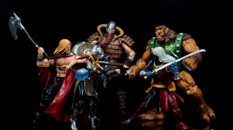 SDCC 2017 Marvel Legends Battle for Asgard figure review - Odinson, Thor, Bor, Malekith and Ulik battle
