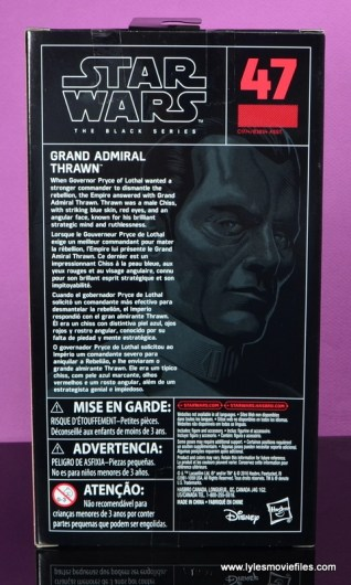 Star Wars The Black Series Grand Admiral Thrawn figure review -package rear