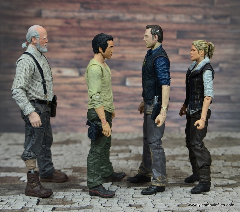 The Walking Dead The Governor TV Series figure review -scale with Herschel, Glenn and Andrea
