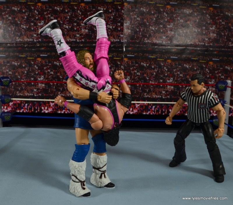 WWE The Berzerker figure review -piledriving Bret Hart