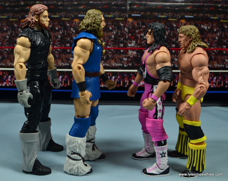 WWE The Berzerker figure review -scale with The Undertaker, Bret Hart and The Texas Tornado