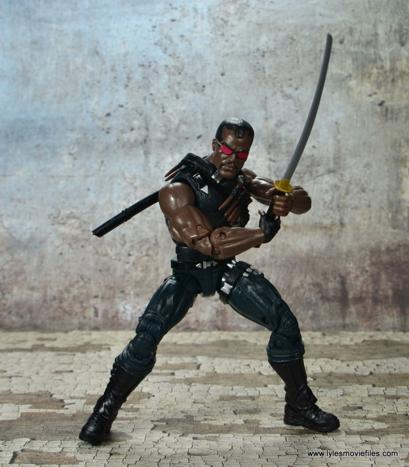 Marvel Legends Blade figure review -holding the sword