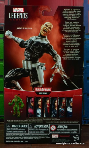 Marvel Legends Bullseye figure review - package rear