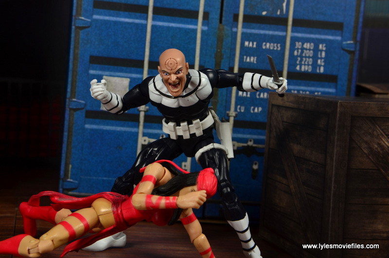 Marvel Legends Bullseye figure review - threatening Elektra