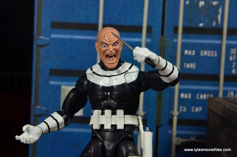Marvel Legends Bullseye figure review - unmasked head