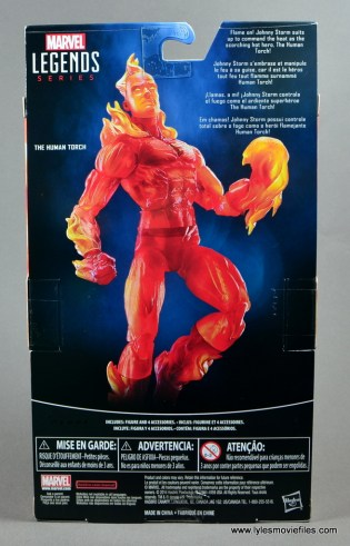 Marvel Legends The Human Torch figure review - package rear