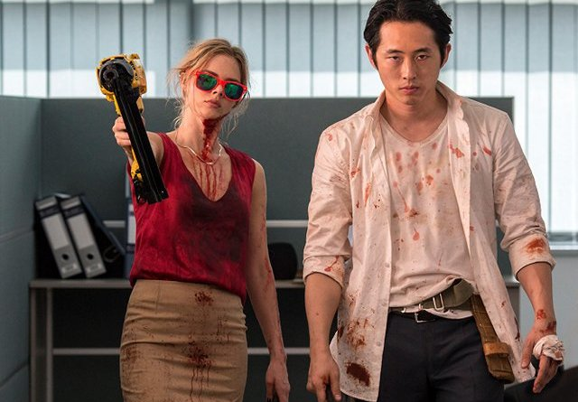 Mayhem review - Samara Weaving and Steven Yeun