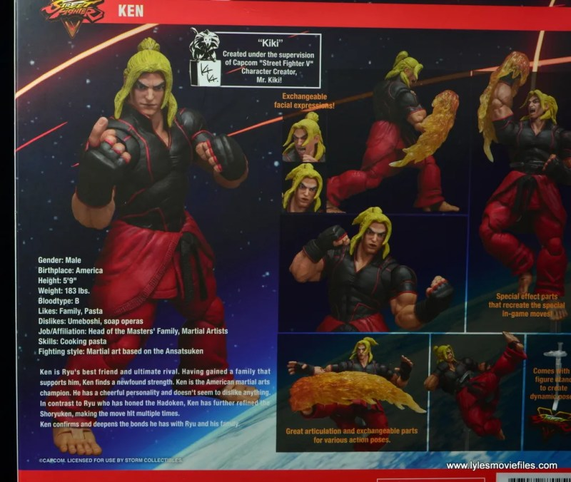 Storm Collectibles Street Fighter V Ken figure review -package bio