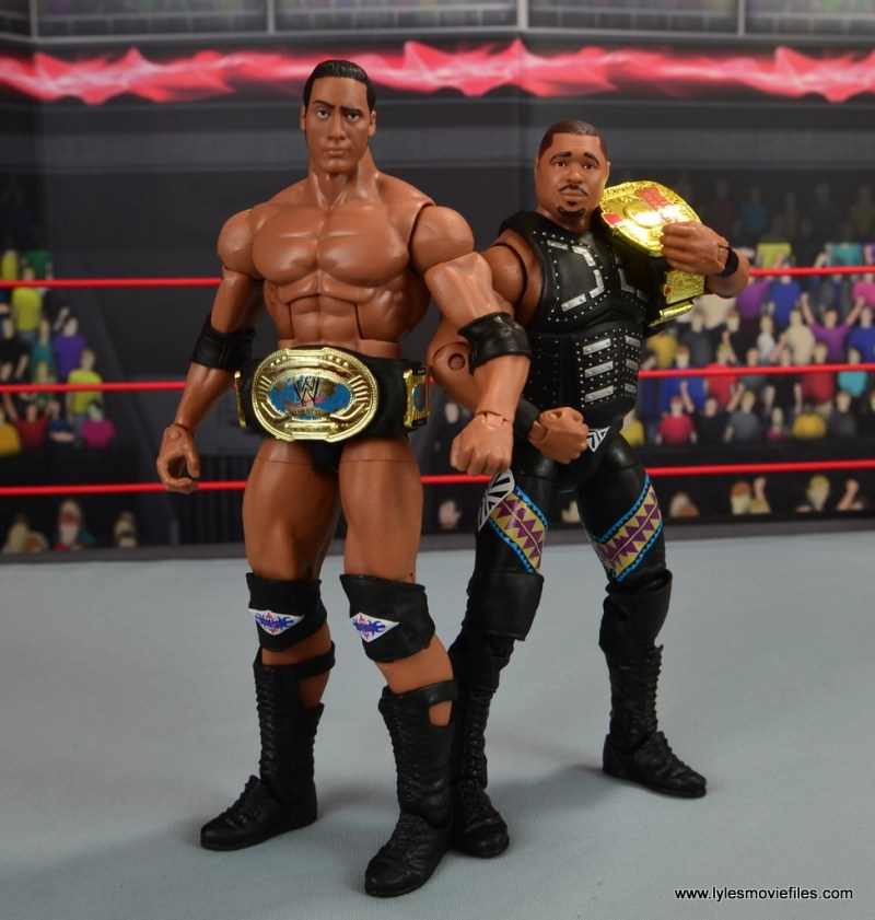 WWE Elite D-Lo Brown figure review - standing tall with The Rock with title belts