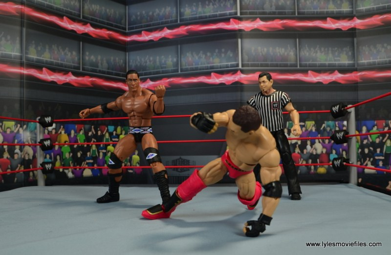 WWE Elite Farooq and The Rock Nation of Domination figure review set - The Rock stalking Ken Shamrock