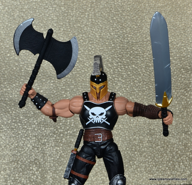 Marvel Legends Ares figure review -raising axe and sword