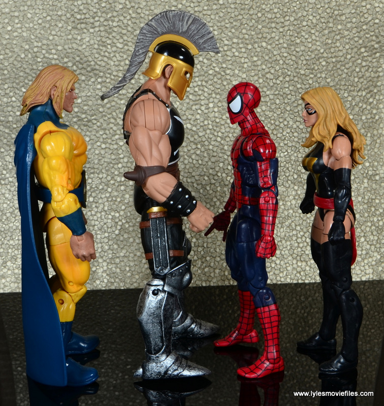 Marvel Legends Ares figure review -scale with Sentry, Spider-Woman and Warbird