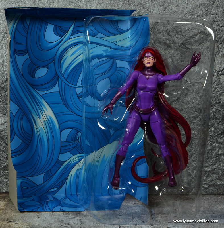 Marvel Legends Medusa figure review -backdrop and in tray