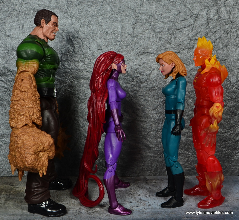 Marvel Legends Medusa figure review -scale with Sandman, Invisible Woman and Human Torch