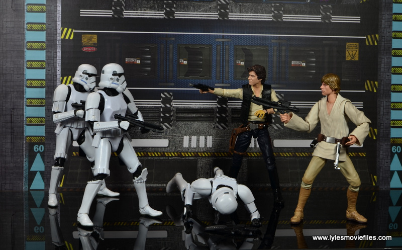 SH Figuarts Luke Skywalker figure review -shoot out with Han Solo and Stormtroopers
