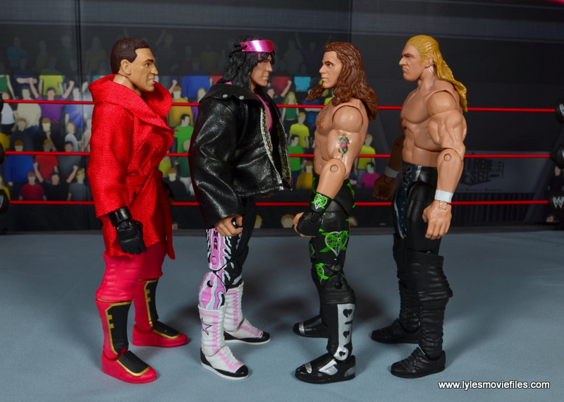 WWE Elite D-Generation X Shawn Michaels figure review - scale with Ken Shamrock, Bret Hart and Triple H