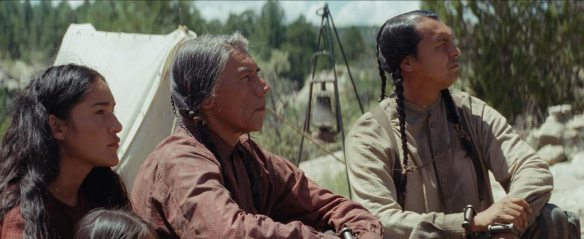 hostiles-review Q'orianka Kilcher, Wes Studi and Adam Beach