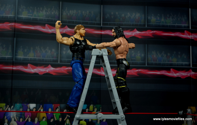 wwe network spotlight dean ambrose figure review -battling Seth Rollins on ladder