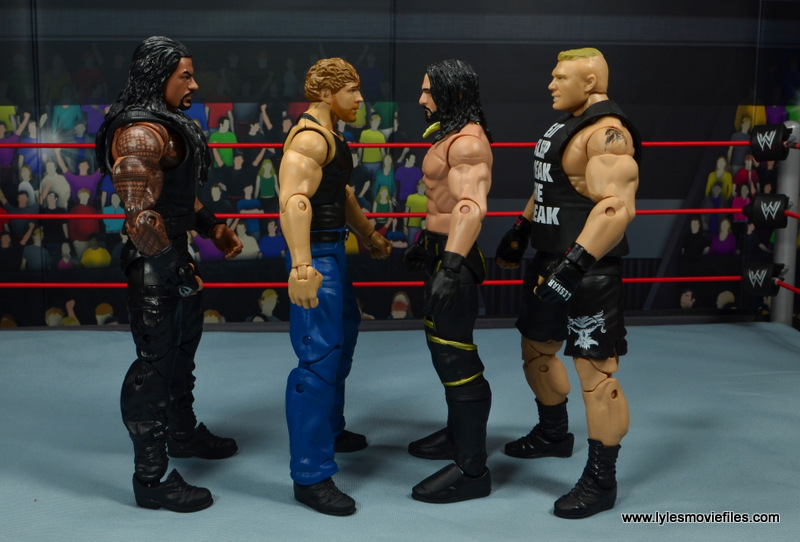 wwe network spotlight dean ambrose figure review -scale with roman reigns, seth rollins and brock lesnar