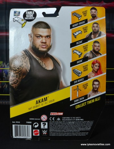 wwe nxt basic akam figure review -package rear