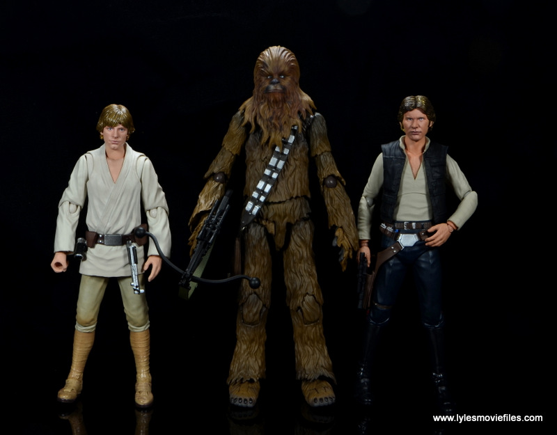 bandai sh figuarts chewbacca figure review - scale with luke skywalker and han solo