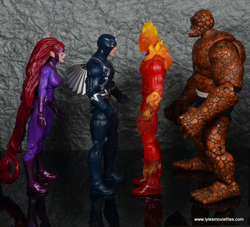 marvel legends black bolt figure review -scale with medusa, human torch and the thing