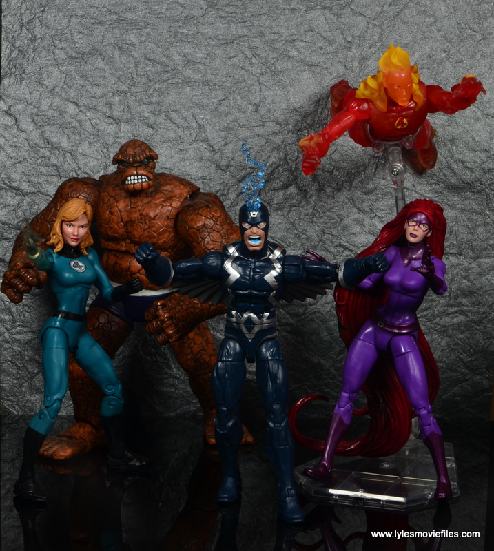 marvel legends black bolt figure review -with invisible woman, the thing, human torch and medusa