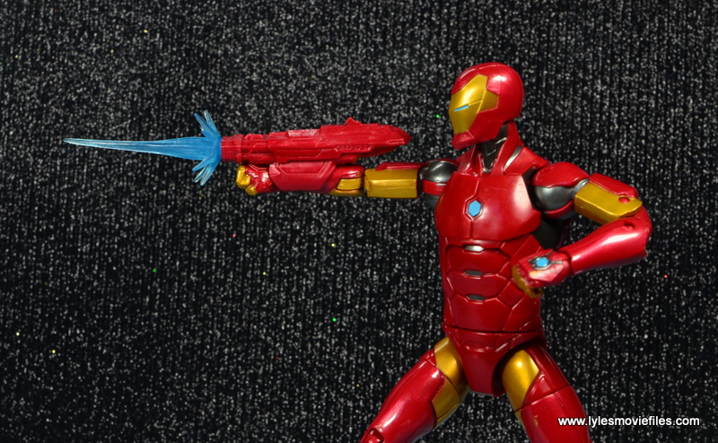 marvel legends invincible iron man figure review -aiming cannon