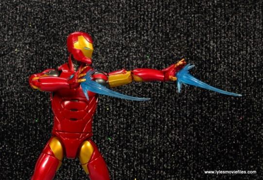 marvel legends invincible iron man figure review -droopy repulsor blasts