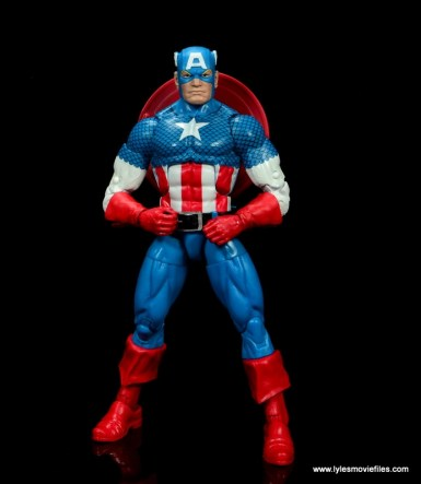 marvel legends retro captain america figure review - hands on hips
