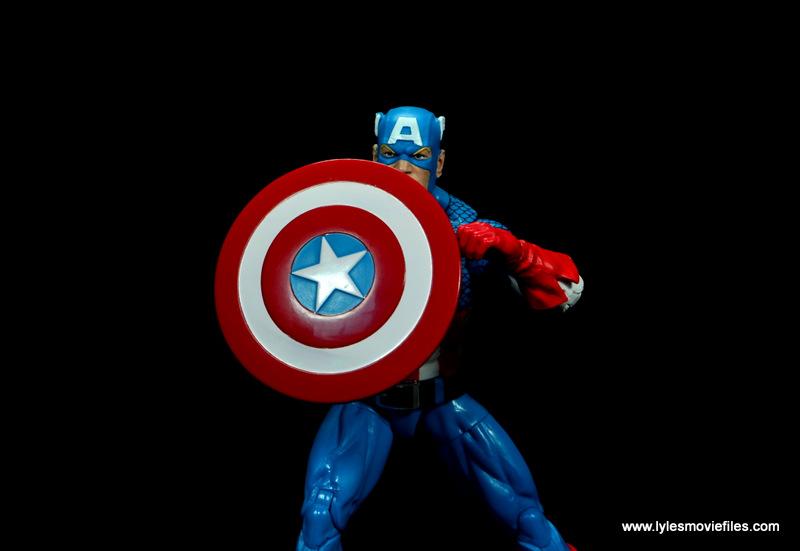 marvel legends retro captain america figure review - raising shield