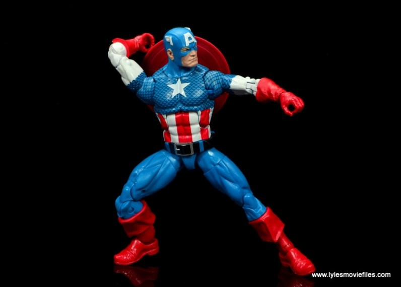marvel legends retro captain america figure review - reaching for shield
