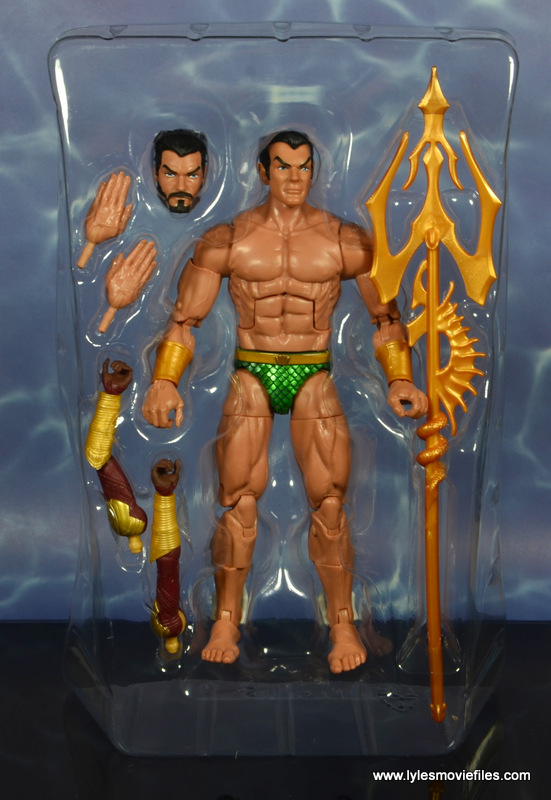 marvel legends sub-mariner figure review - accessories in tray