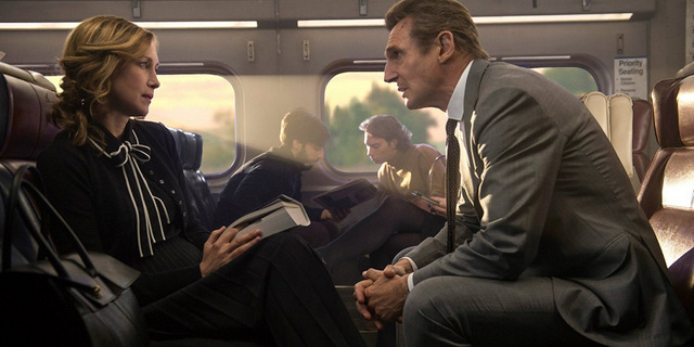 the commuter review - vera farmiga and liam neeson