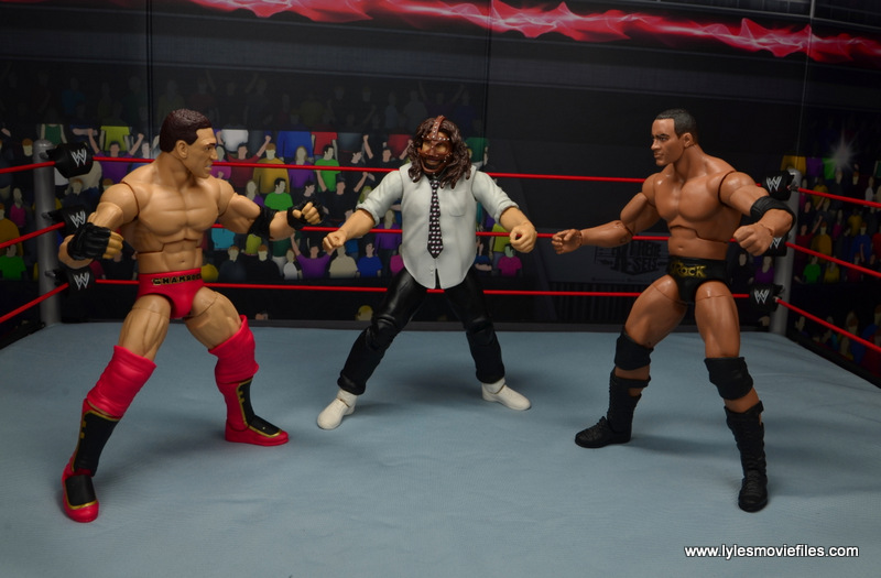 wwe summerslam elite mankind figure review - triple threat against ken shamrock and the rock