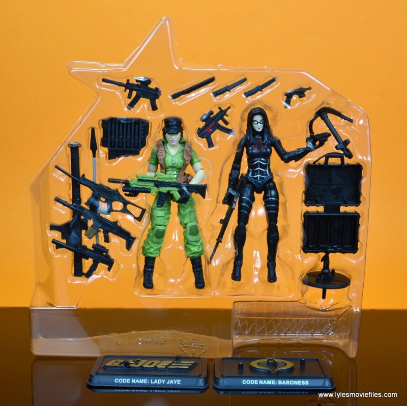 gi joe social clash lady jaye and baroness figure review set - figures in tray