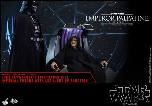 hot toys emperor palpatine figure -sitting with darth vader at his side