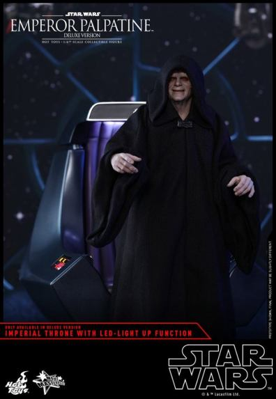 hot toys emperor palpatine figure -standing in front of the throne