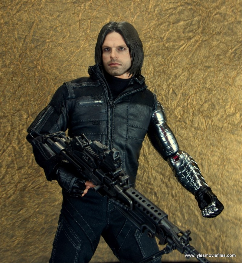 hot toys the winter soldier civil war figure review - against gold wall
