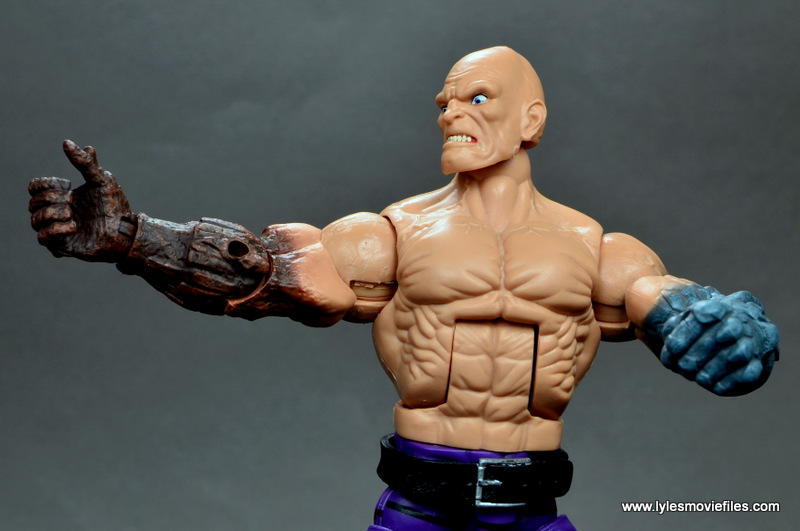marvel legends absorbing man figure review -detail on wood arm