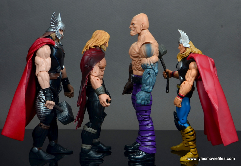 marvel legends absorbing man figure review -scale with marvel now thor, unworthy thor and toy biz thor
