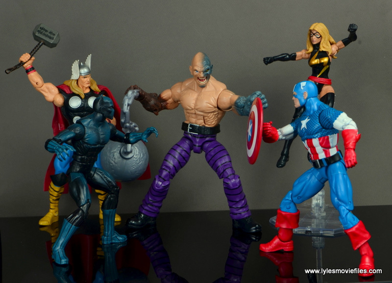 marvel legends absorbing man figure review - vs thor, black panther, captain america and warbird
