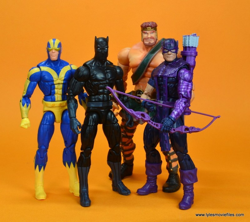 marvel legends black panther figure review - with goliath, hercules and hawkeye