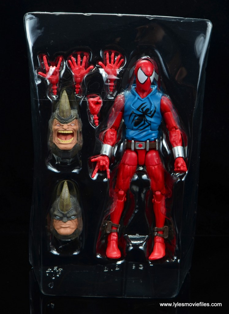 marvel legends scarlet spider-man figure review -accessories in tray