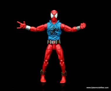 marvel legends scarlet spider-man figure review -arms out