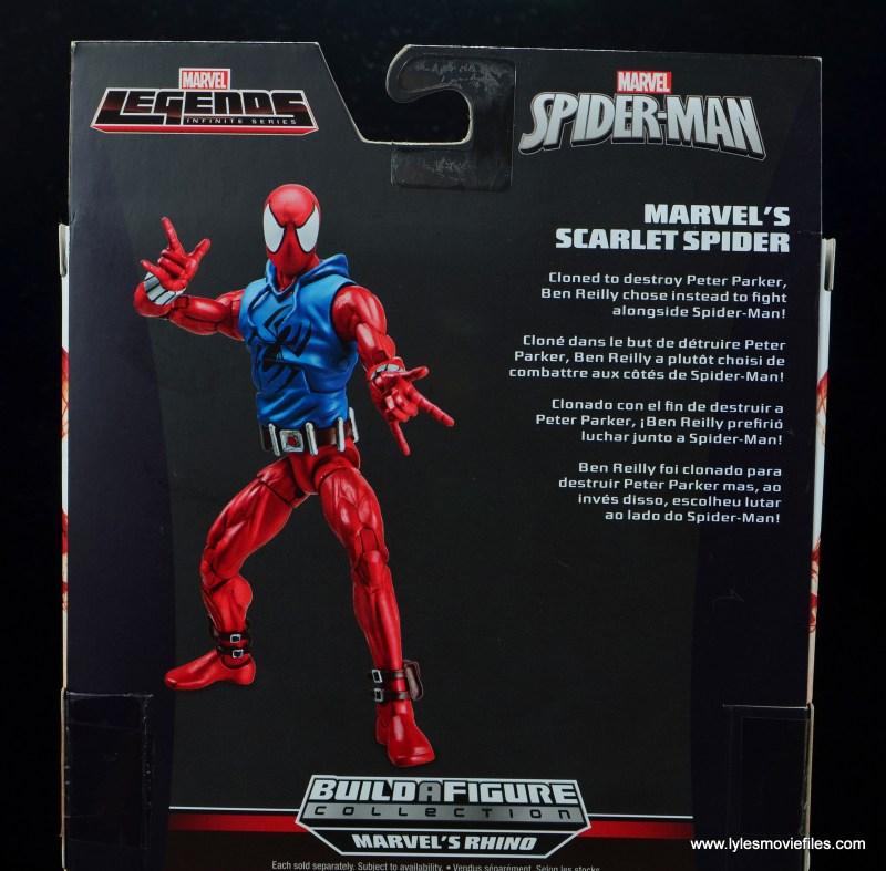marvel legends scarlet spider-man figure review -package bio
