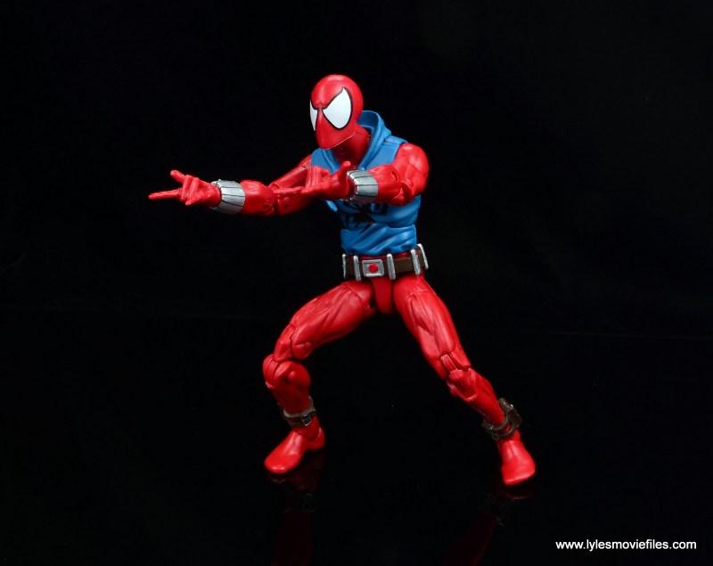 marvel legends scarlet spider-man figure review -shooting webs