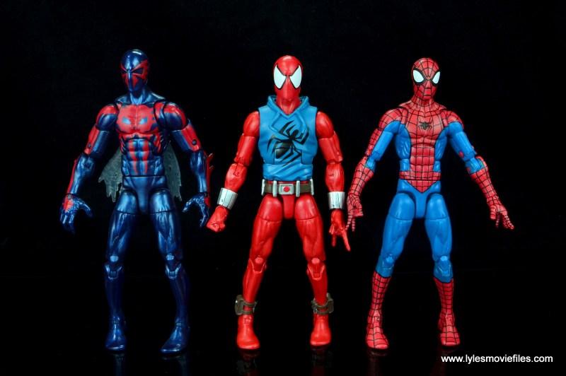 marvel legends scarlet spider-man figure review -spider-man 2099 and spider-man